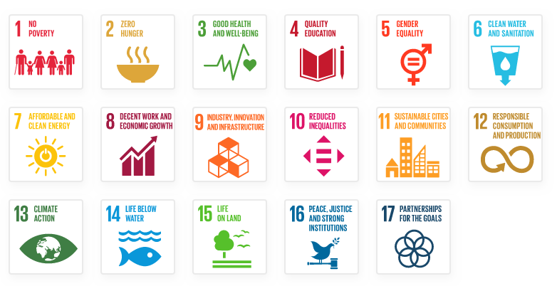 A list of the 17 UN Sustainable Goals
