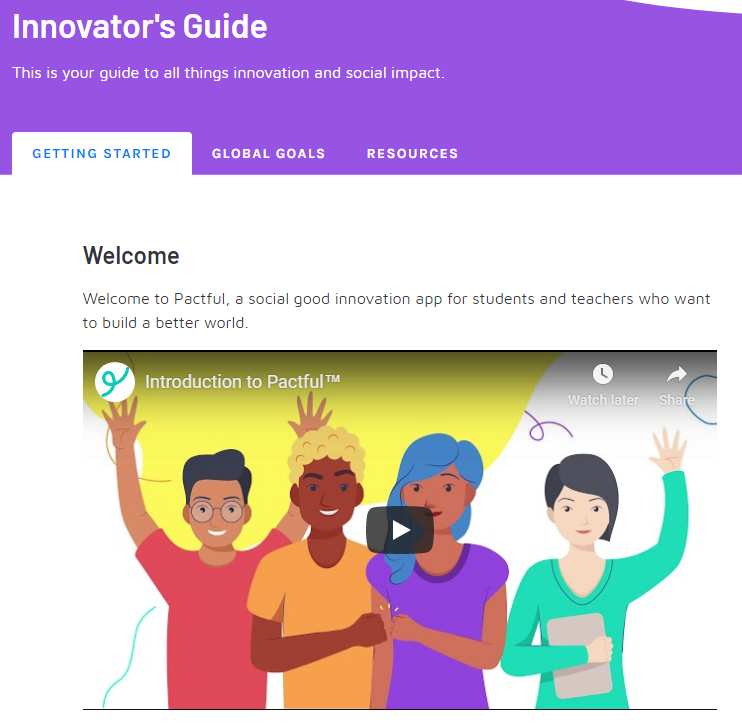 """A screenshot of the innovator's guide, including """"getting started,"""" """"global goals"""" and """"resources"""""""