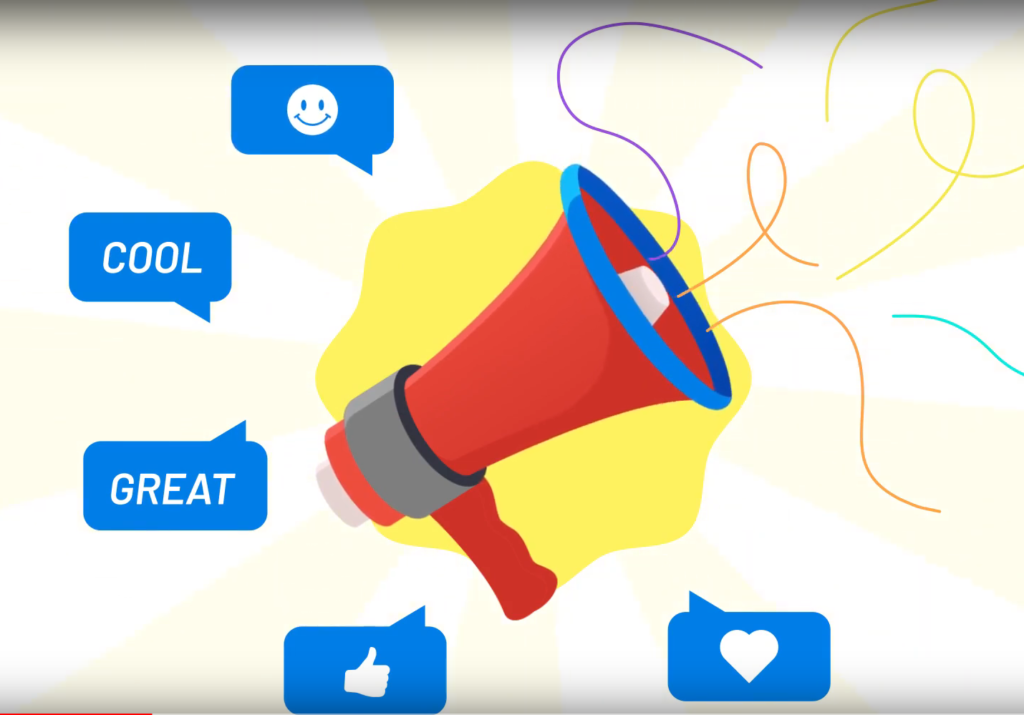 A screenshot showing a megaphone with idea bubbles coming off it saying, cool, great, and thumbs up