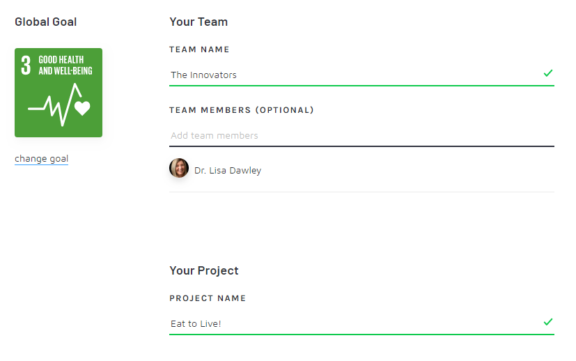 A screenshot of the interface to create a team and project in Pactful