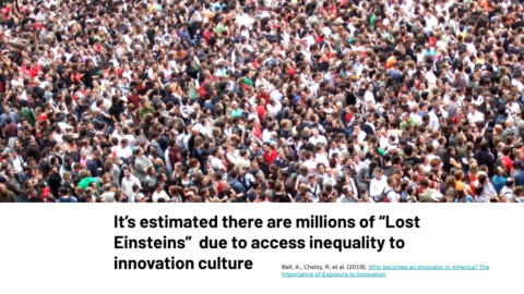 "It's estimated there are millions of ""Lost Einsteins"" due to access inequality to innovation culture"