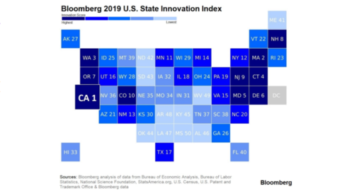 Map of US with numbers on each state indicating their ranking in Bloomberg's 2019 US State Innovation Index