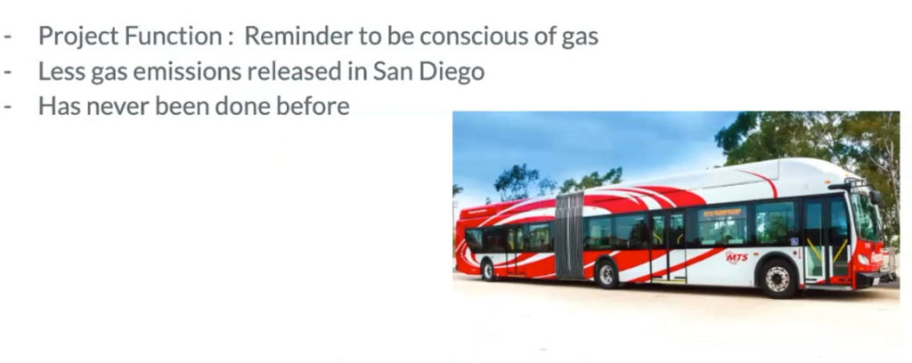 Infographic. Project Function: Reminder to be conscious of gas, less gas emissions released in San Diego, Has never been done before. Picture of MTS bus.